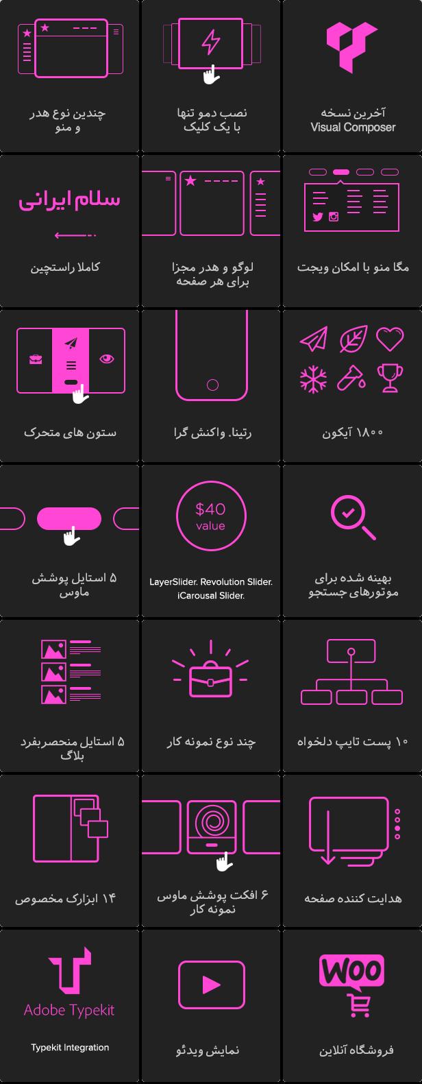 ویژگی های کلیدی قالب jupiter