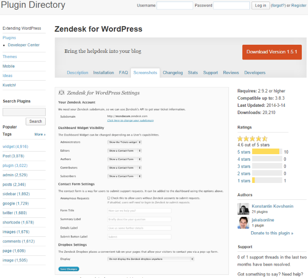Zenddesk for WordPress