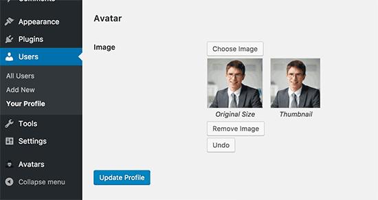 پنل تنظیم کردن عکس برای نویسنده ها در وردپرس