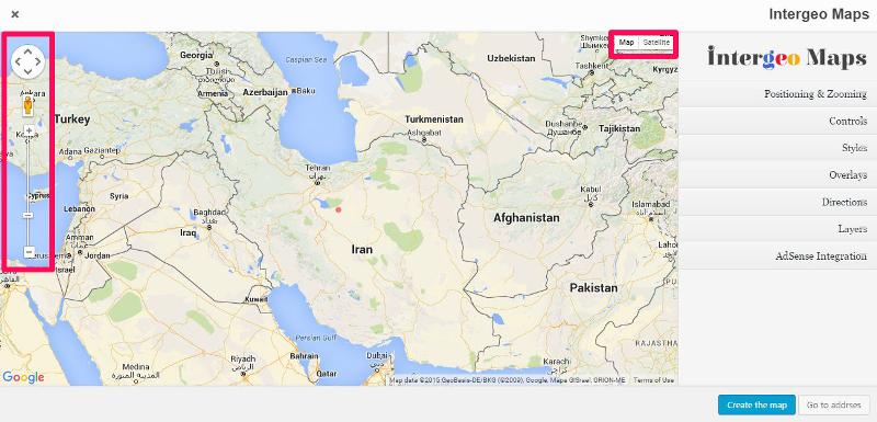انتخاب موقعیت عکس در افزونه گوگل مپ وردپرس